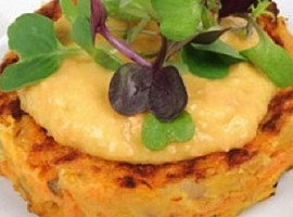 Carrot Fritters with Carrot Hummus
